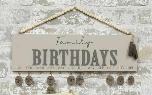 Lt Gray Family Birthday Calendar with Beaded Hanger