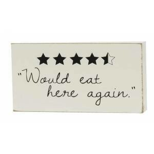Eat Here Again Wood Block Sign