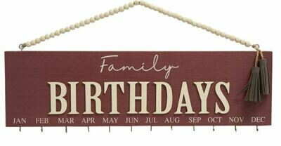 Maroon Family Birthday Calendar with Beaded Hanger