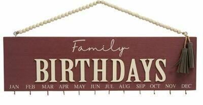 Maroon Family Birthday Calendar with Beaded Hanger
