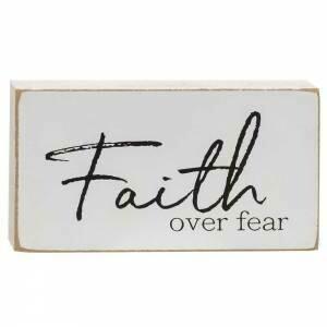 Faith Over Fear Wood Block