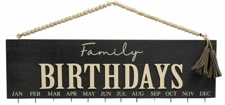 Black Family Birthday Calendar with Beaded Hanger