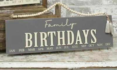 Dk Gray Family Birthday Calendar with Beaded Hanger
