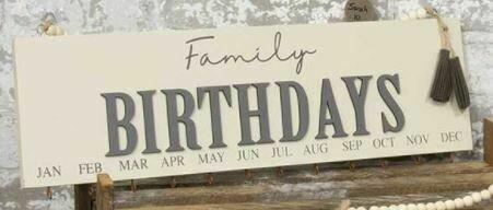 Tan Family Birthday Calendar with Beaded Hanger