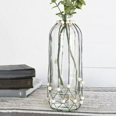 Tall Beaded Vase