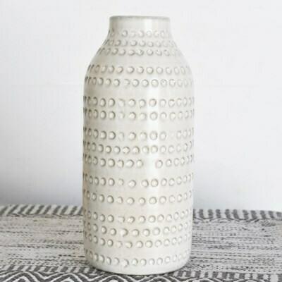 Lg White Dot Vase