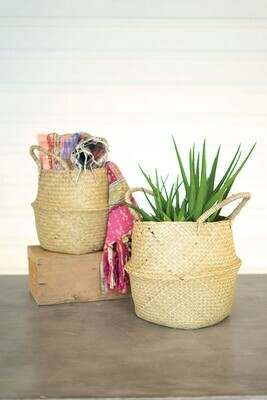 Lg Seagrass Collapsible Basket