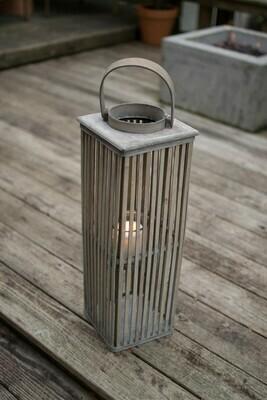 Gray Squared Wooden Lantern