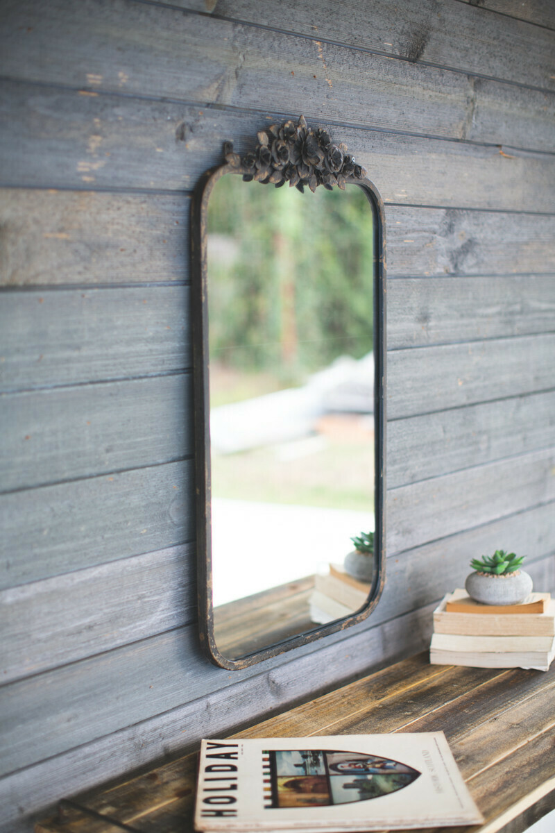 Metal Floral Rectangle Mirror