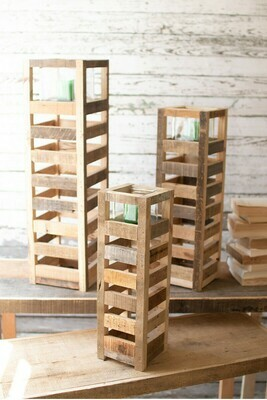 Lg Square Wood Candle Tower