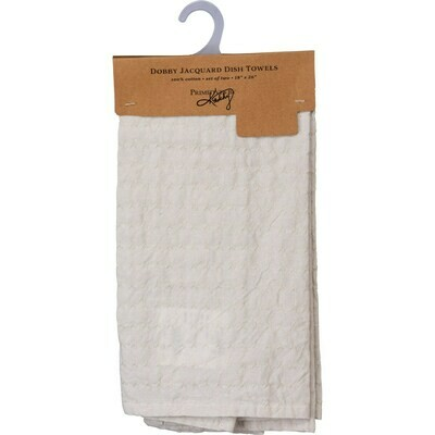 Set of 2 Woven Cream Towels