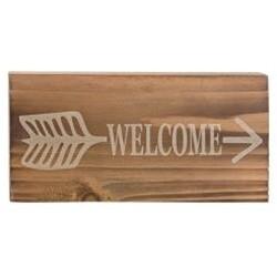 Welcome Arrow Wood Block