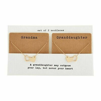Grandma Granddaughter Necklace Set