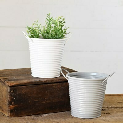 White Tin Pot w Handles