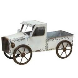 Distressed Metal White Truck