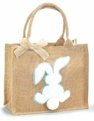 Blue Burlap Easter Bunny Bag
