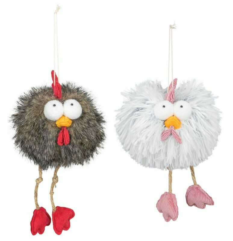 White Shaggy Rooster Ornament