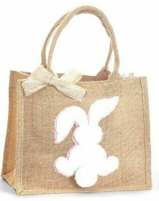 Pink Burlap Easter Bunny Bag