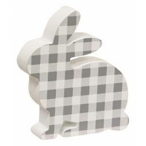 Gray & White Check Bunny Sitter