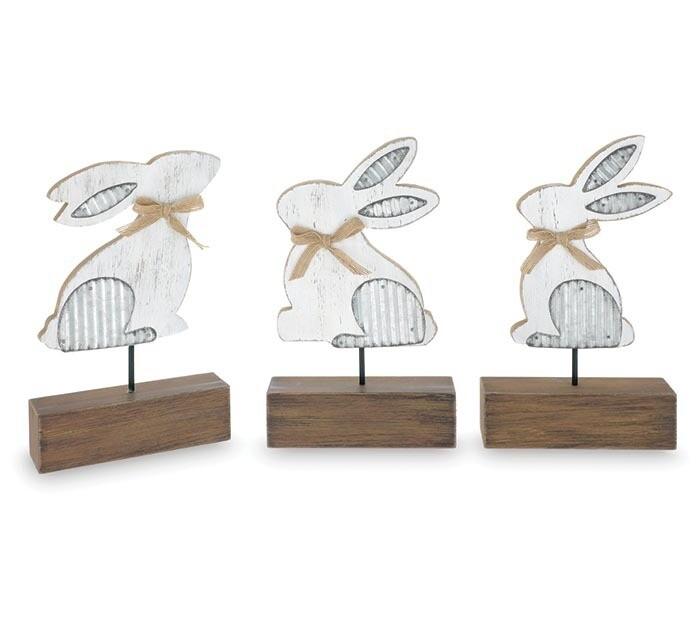 Distressed Wood & Tin Bunny on Base