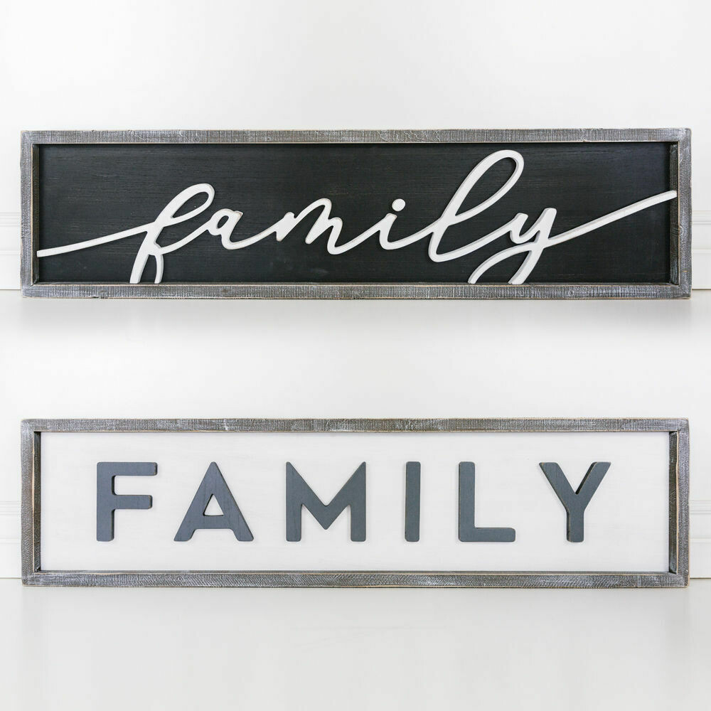 Reversible Wooden Family Sign