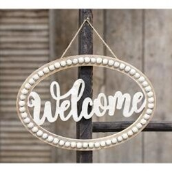 Hanging Beaded Welcome Sign