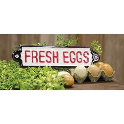 Fresh Eggs Metal Plaque