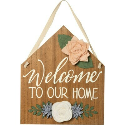Floral Hanging Welcome House Sign