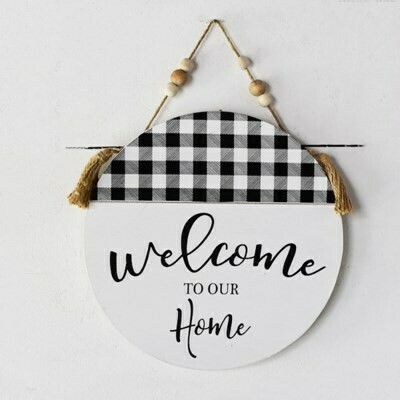 B&W Plaid Beaded Welcome