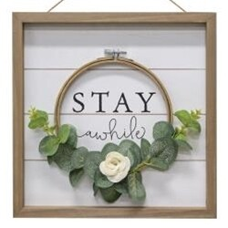 Stay Awhile Framed Floral Sign