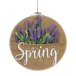 Spring Lavender Burlap Wall Hanger