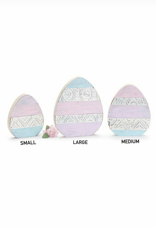 Sm Wood & Tin Egg Shelf Sitter