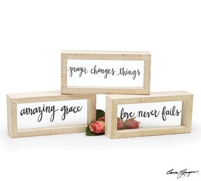 Love Never Fails Glass Box Sign