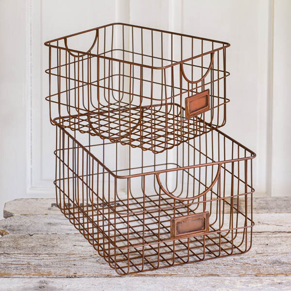 Lg Copper Finish Storage Basket