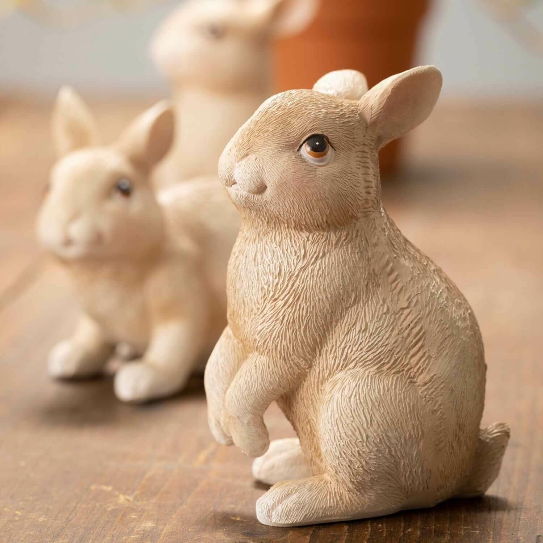Hopping Brown Resin Bunny