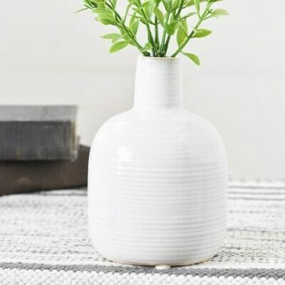 Lg White Striped Bud Vase