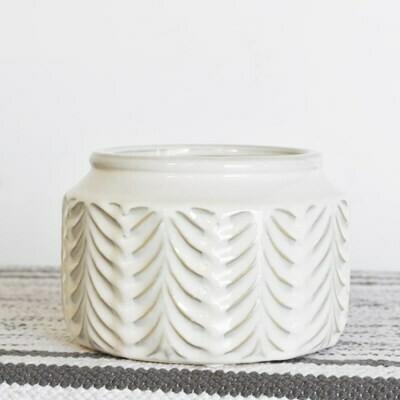 Cream Ceramic Pattern Pot