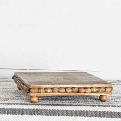 Brown Square Wood Bead Riser