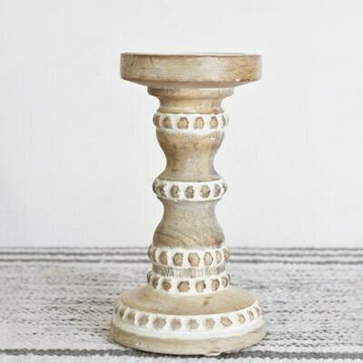 Sm Carved Wood Candle Holder