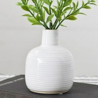 Sm White Striped Bud Vase