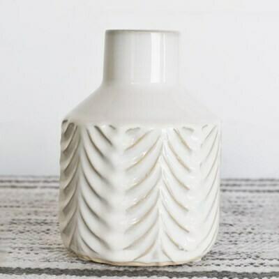 Cream Ceramic Pattern Vase