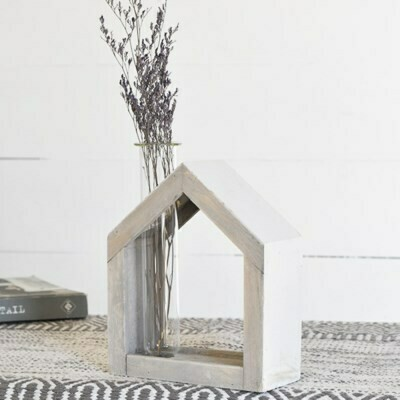 Lg Wood House Bud Vase