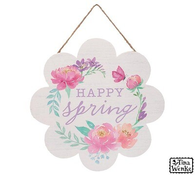 Happy Spring Floral Wall Hanger