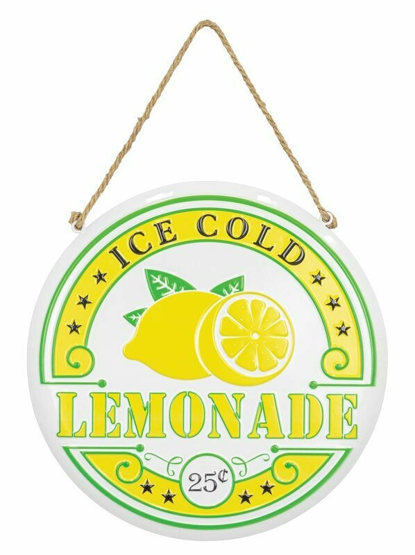 Round Ice Cold Lemonade Hanging Sign