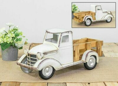 White Truck w Wood Truck Bed