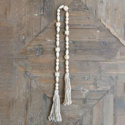 Natural Beads w White Rope Tassel