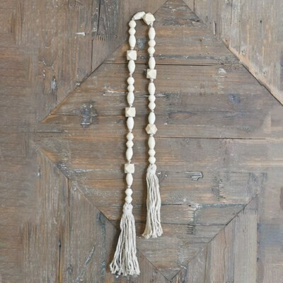 Natural Beads w White Rope Tassel