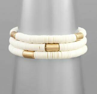 White Rubber Bead & Gold Bracelet