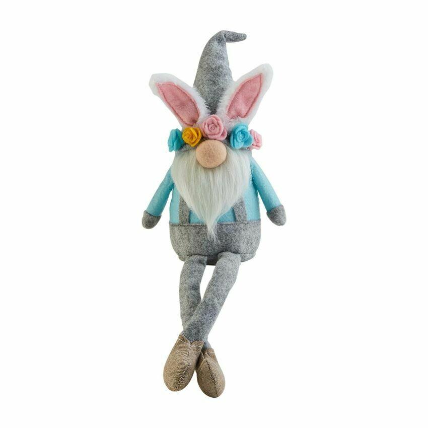 Flower Crown Bunny Dangle Leg Gnome