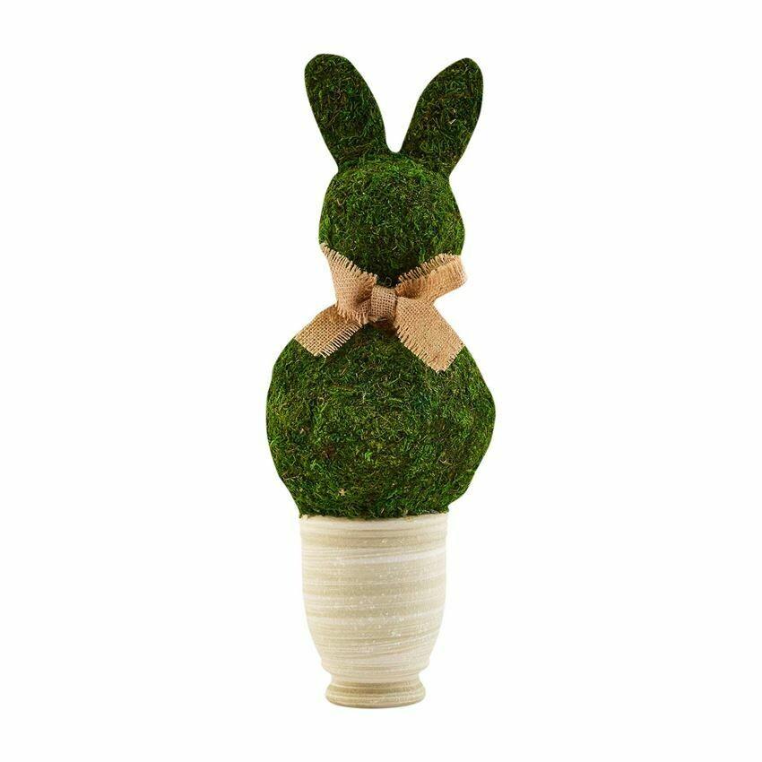 Lg Preserved Moss Bunny Pot